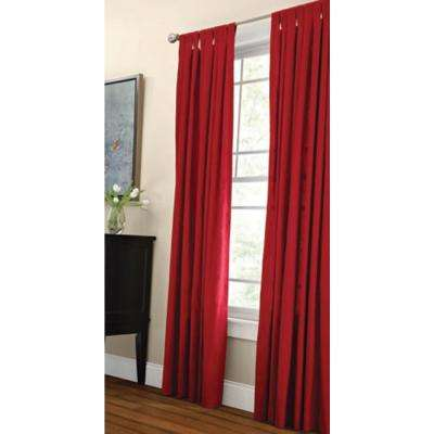 Semi-Opaque Vermillion Classic Cotton Tab Top Curtain