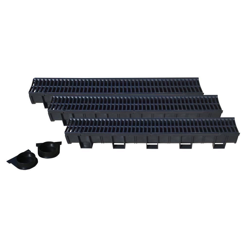 Trench drain detail - U S Trench Drain Easy Drain Series Black 5 4 In X 39 4 In Modular Trench And Channel Drain Kit 3 Pack 83300 3 The Home Depot