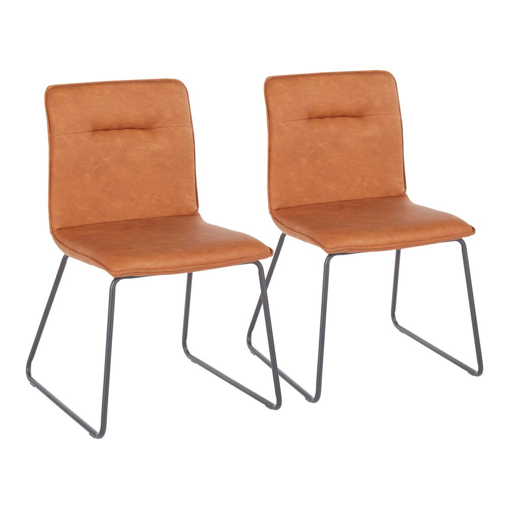 Casper Camel Faux Leather Industrial Dining Chair (Set of 2)