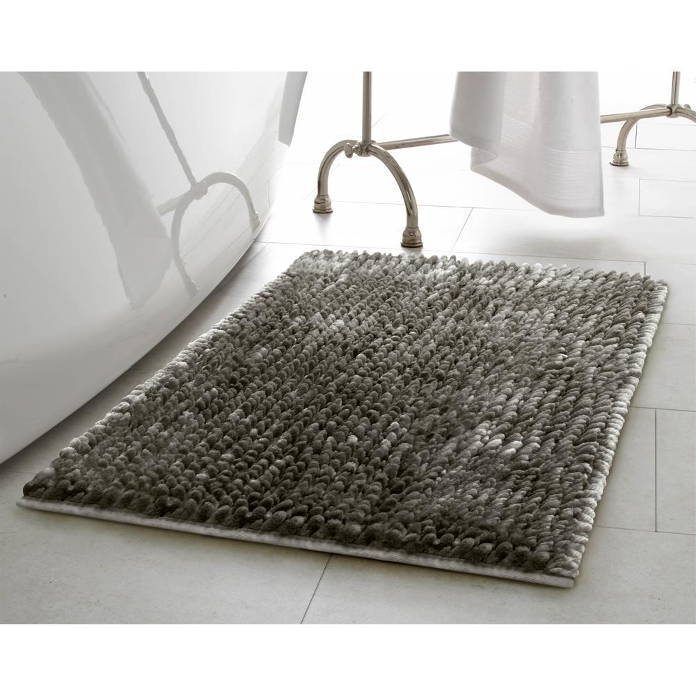 Laura Ashley Butter Chenille 17 in. x 24 in. Bath Mat in Charcoal