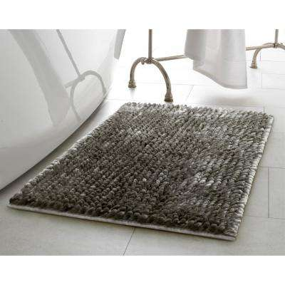 Butter Chenille 17 in. x 24 in. Bath Mat in Charcoal