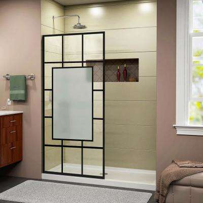 French Linea Avignon 34 in. W x 72 in. H Frameless Fixed Shower Panel in Satin Black