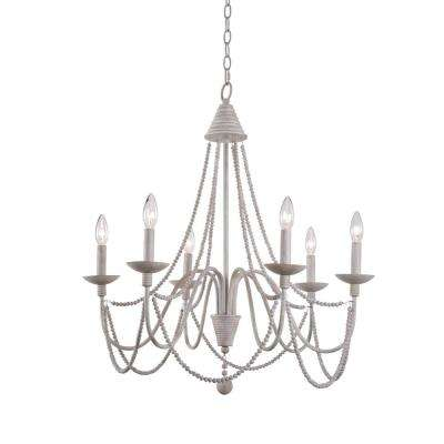 Escapade 6-Light Weathered White Chandelier