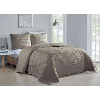 Spain 3-Piece Taupe Queen Quilt Set