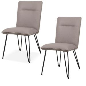 Black and Gray with Hairpin Style Legs Faux Leather Upholstered Metal Chair (Set of 2)