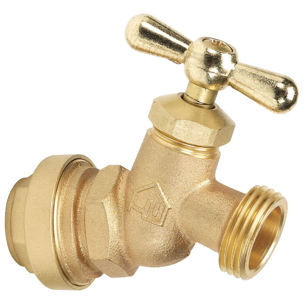 3/4 in. Brass No Kink Hose Bibb Valve with Push-Fit Connections