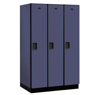 21000 Series Single-Tier 24 in. D 3-Compartments Extra Wide Designer Particle Board Locker in Blue