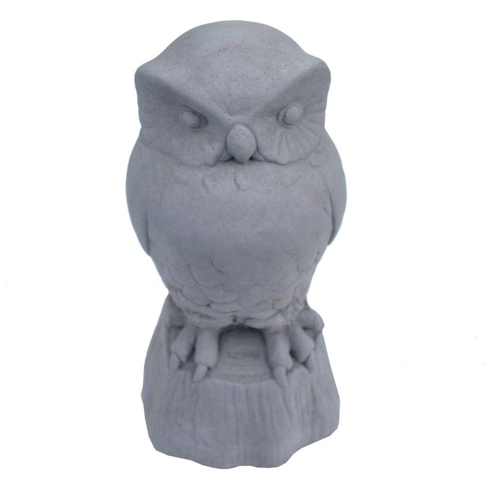 Cast Stone Owl Garden Statue Antique Gray