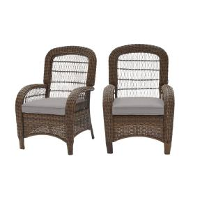 Beacon Park Brown Wicker Outdoor Patio Captain Dining Chair with CushionGuard Stone Gray Cushions (2-Pack)