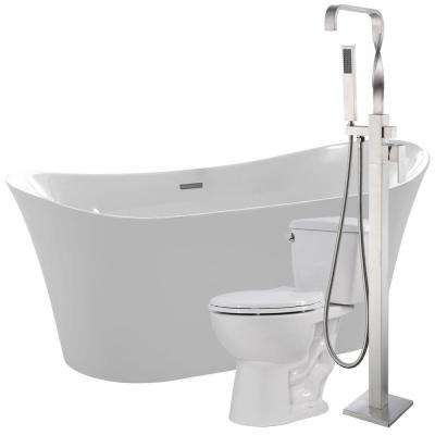 Eft 67 in. Acrylic Flatbottom Non-Whirlpool Bathtub in White with Yosemite Faucet and Cavalier 1.28 GPF Toilet