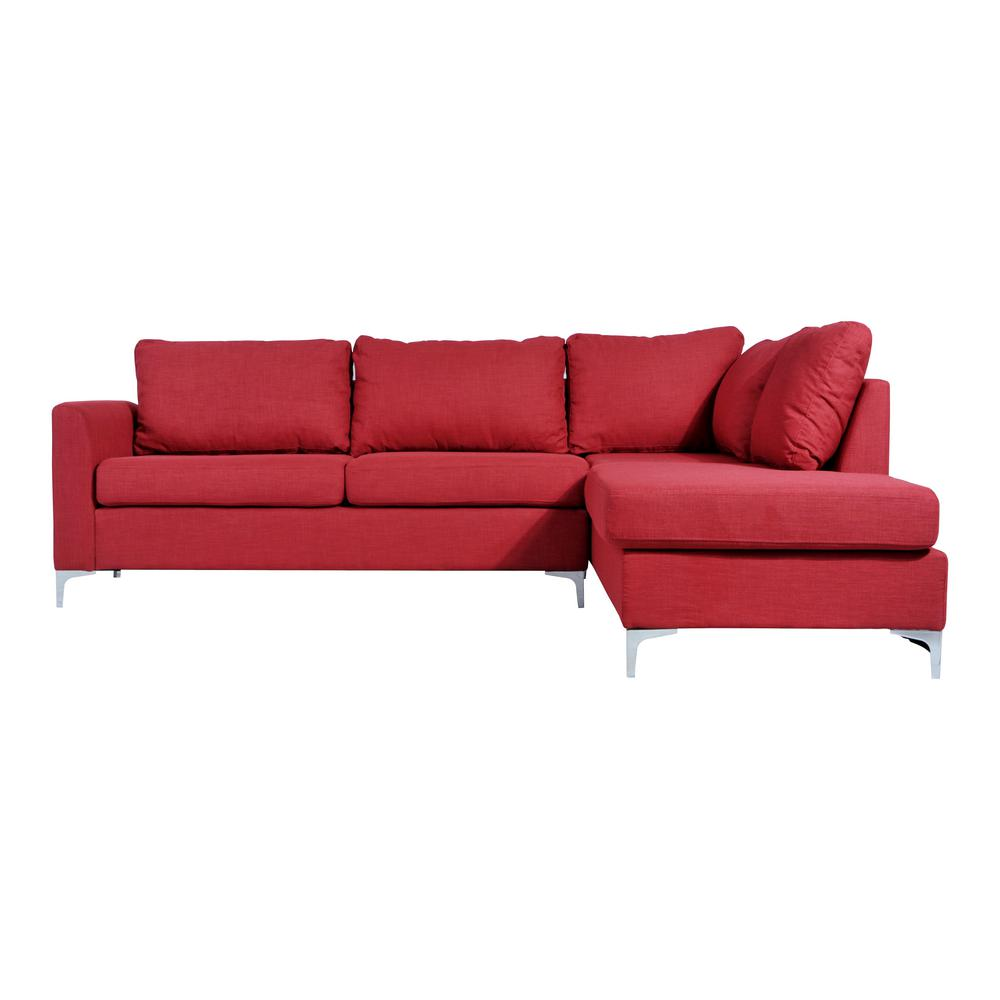 Red Reversible Linen Sectional 73016rd