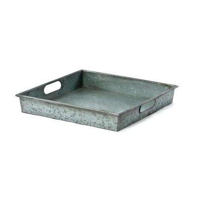 Square Gray Galvanized Metal Tray with Handle