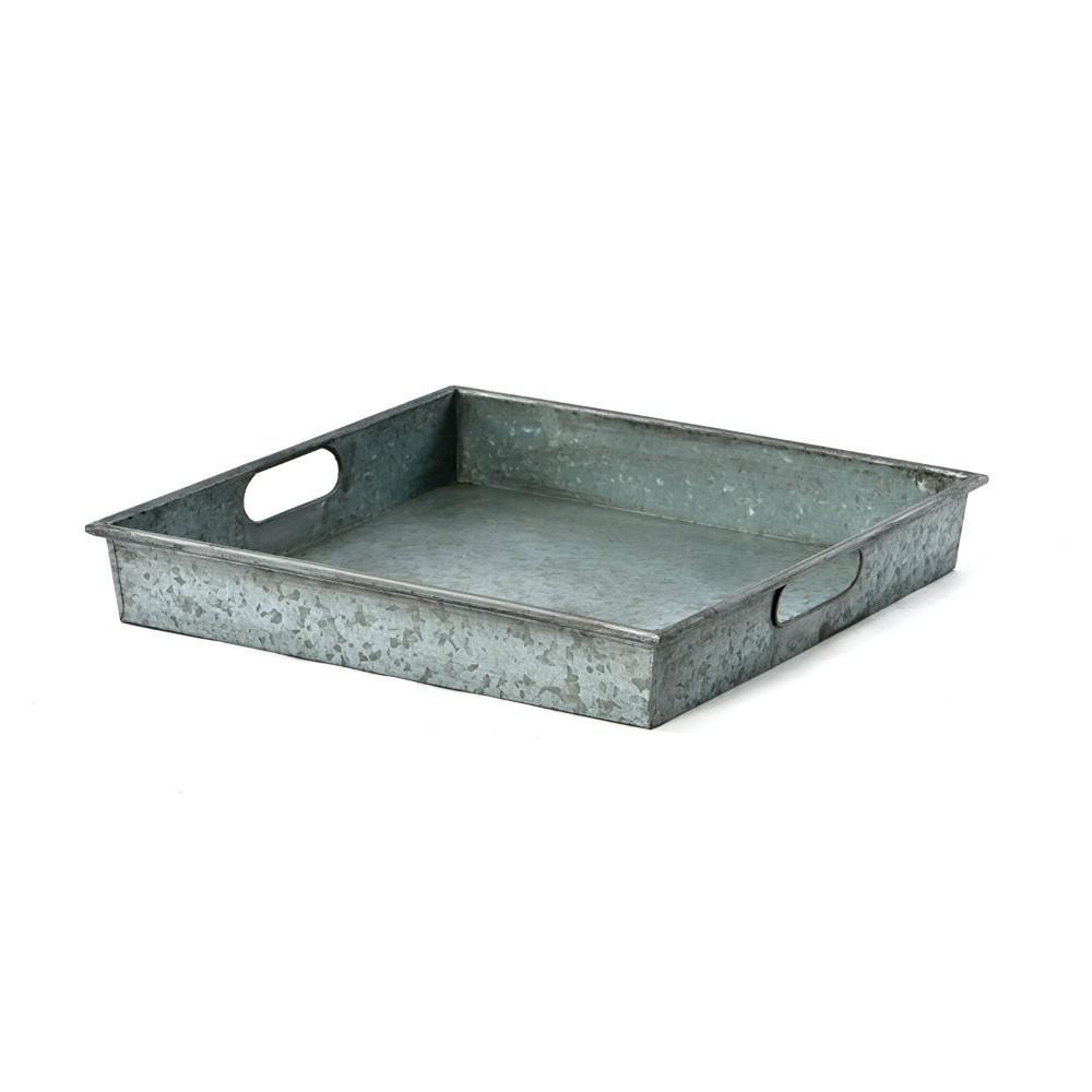 Benzara Square Gray Galvanized Metal Tray With Handle I457