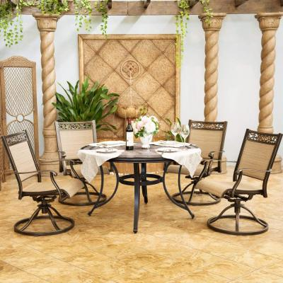Brown 5-Piece Patio Outdoor Dining Set with 4 Swivel Sling Chair and 48 in. Round Mosaic Tile Top Aluminum Table