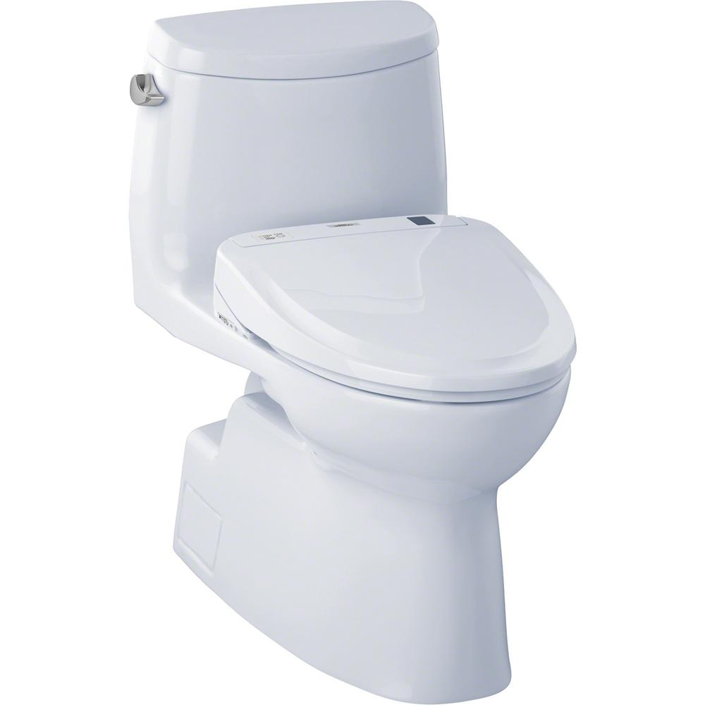 Toto Carlyle Ii Connect 1 Piece 1 28 Gpf Elongated Toilet With Washlet S350e Bidet And Cefiontect In Cotton White Mw614584cefg 01 The Home Depot