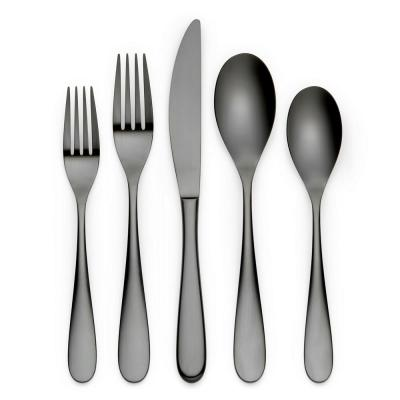 Felicie 20-Piece Black 18/0 Stainless Steel Flatware Set (Service for 4)