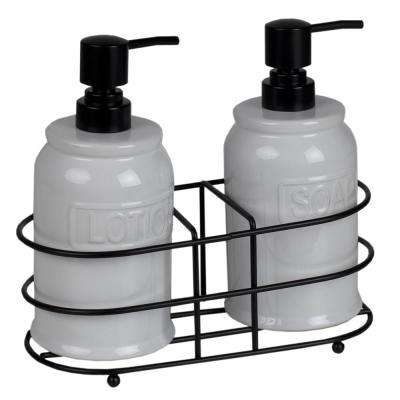 Embossed Glazed Ceramic Soap Dispenser with Dual Compartment Metal Rack in White (2-Pack)