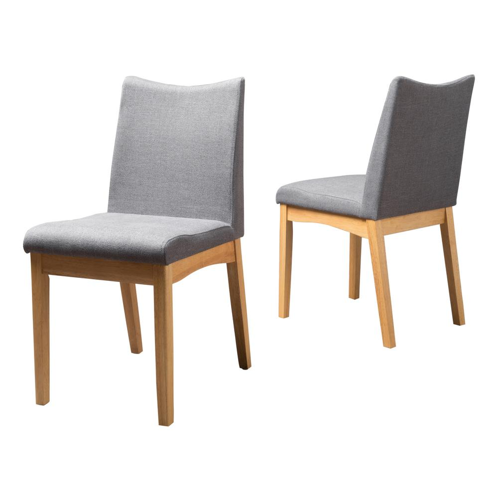 Le House Magnolia Dark Grey Fabric With Walnut Finish Dining Chairs Set Of 2