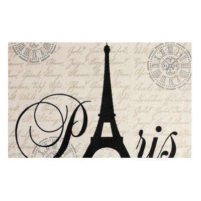 Eiffel Printed Typography Cotton Natural 3 ft. x 5 ft. Area Rug