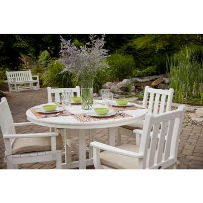 La Casa Cafe 48 in. Slate Grey Round Patio Dining Table