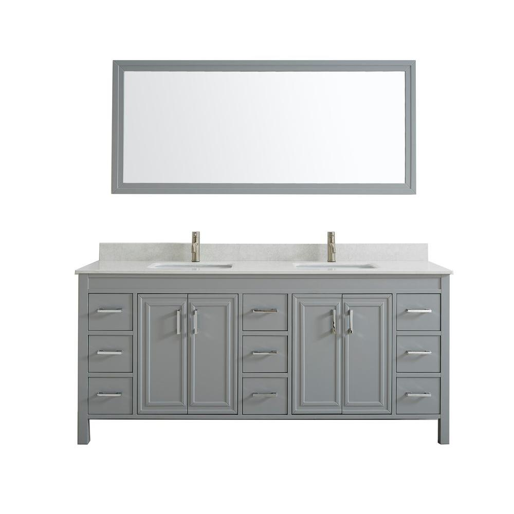 Studio Bathe Dawlish 75 in. W x 22 in. D Vanity in Oxford Gray with Solid Surface Vanity Top in White with White Basins and Mirror