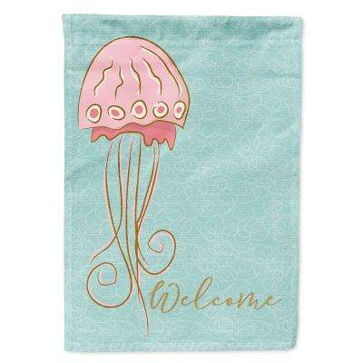 28 in. x 40 in. Polyester Jelly Fish Welcome Flag Canvas House Size 2-Sided Heavyweight
