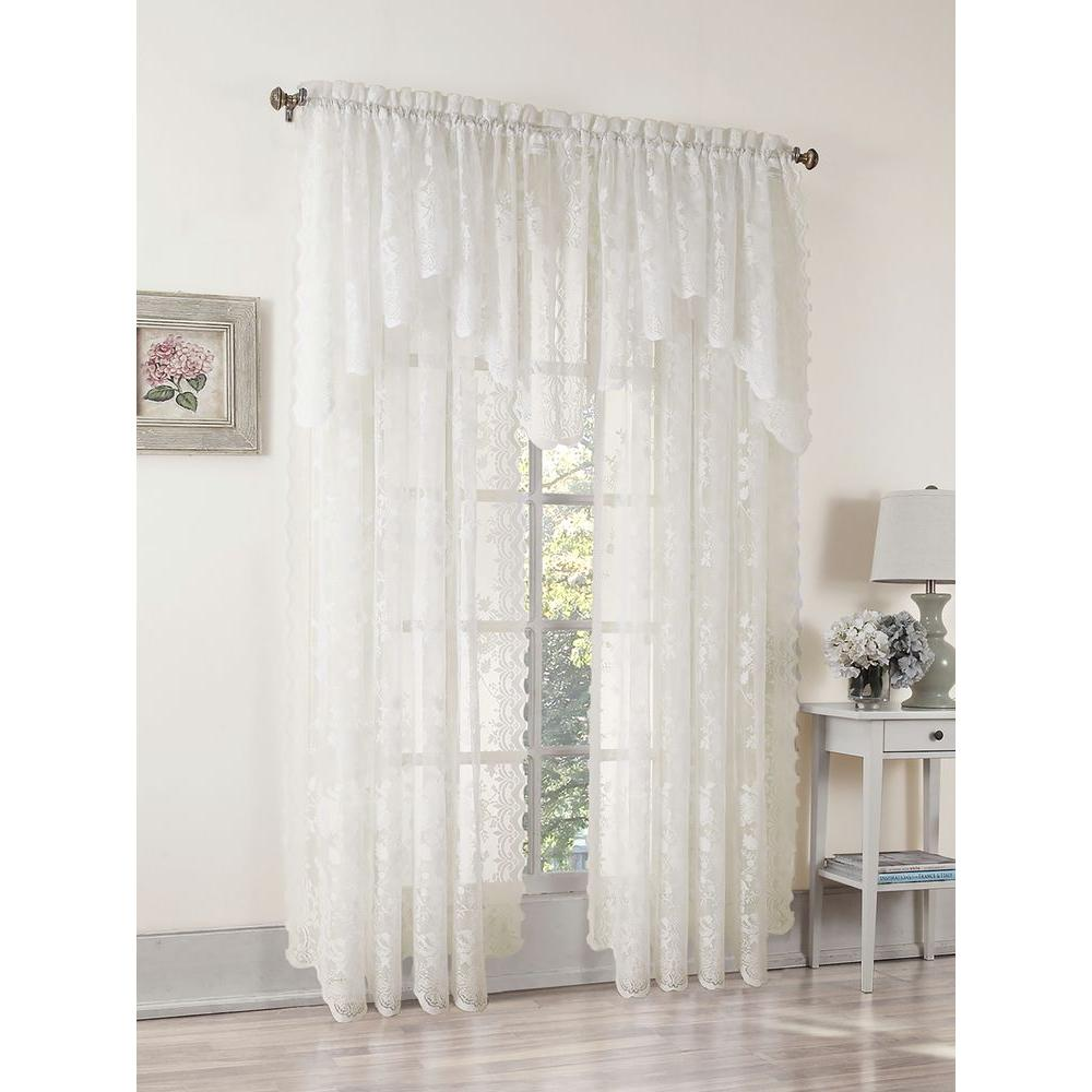 LICHTENBERG Sheer Ivory Alison Lace Curtain Swag, 58 in. W x 32 in. L