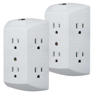 6-Outlet Grounded Tap with Resettable Circuit Breaker, (2-Pack)