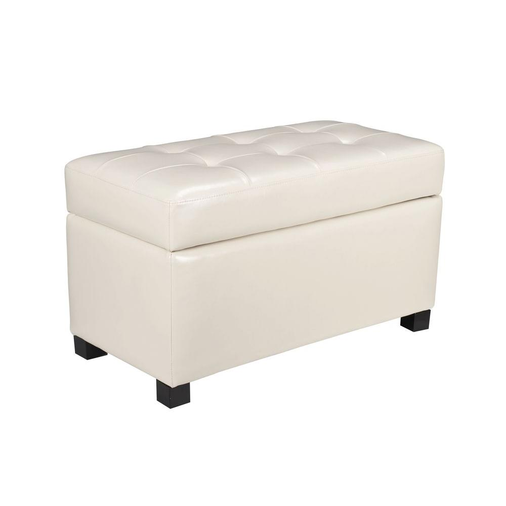 OSP Home Furnishings Cream Storage Ottoman