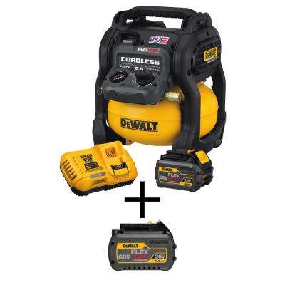 FLEXVOLT 2.5 Gal. 60-Volt MAX Brushless Cordless Electric Air Compressor Kit w/ Battery 2Ah, Charger and Bonus Battery