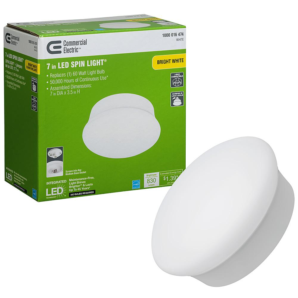 Commercial Electric Spin Light 7 in. LED Flush Mount Ceiling Light 830 Lumens 11.5 Watts 4000K Bright White No Bulbs Needed