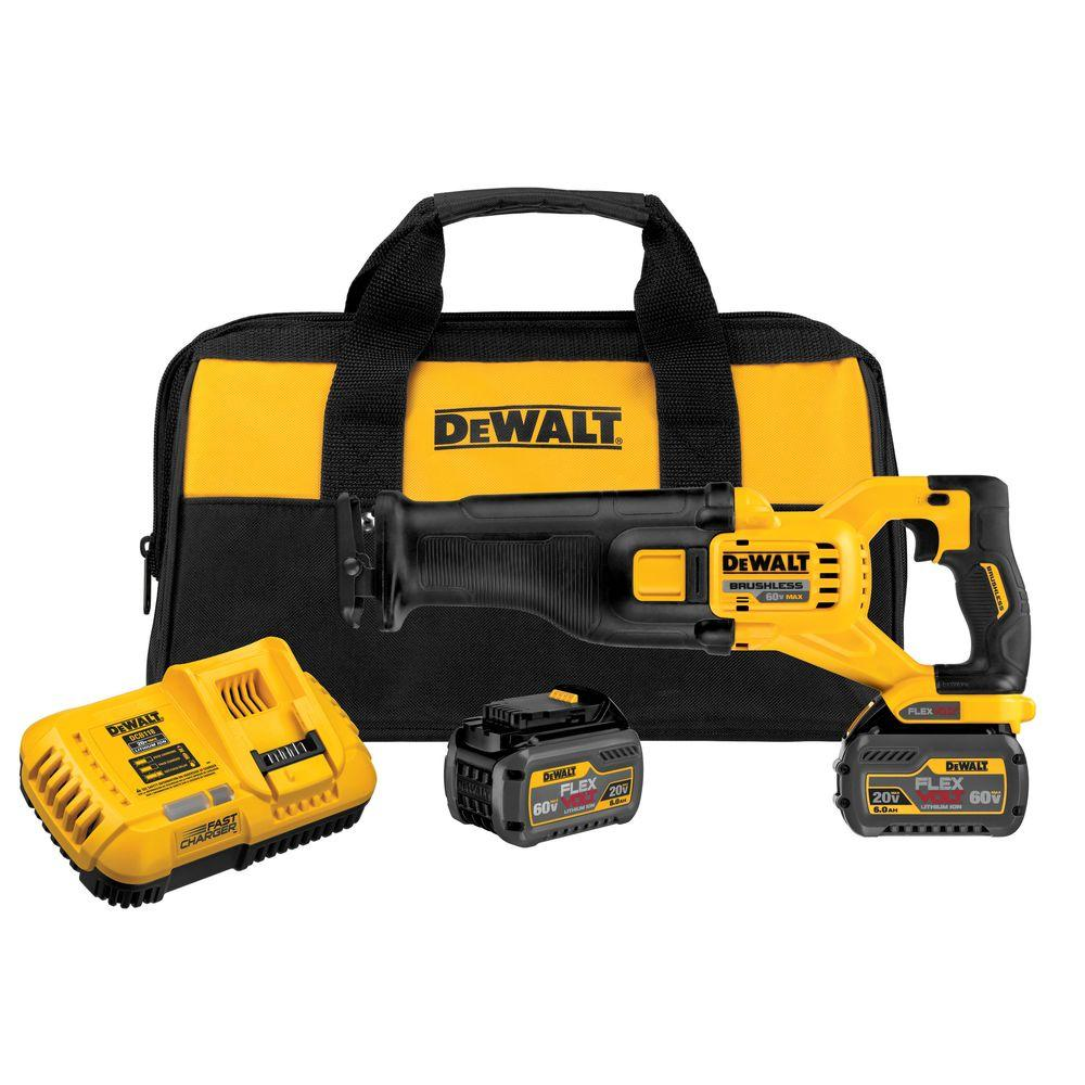 DEWALT FLEXVOLT 60-Volt MAX Lithium-Ion Cordless Brushless Reciprocating Saw with (2) Batteries 2Ah, Charger and Contractor Bag