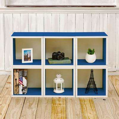Barcelona 6 Cubes zBoard  Stackable Modular Storage Cubby Organizer, Tool-Free Assembly Storage in Blue