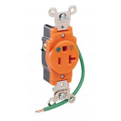 20 Amp Hospital Grade Extra Heavy Duty Isolated Ground Single Outlet, Orange