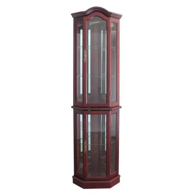 Floor Standing Cherry Lighted Curio Cabinet