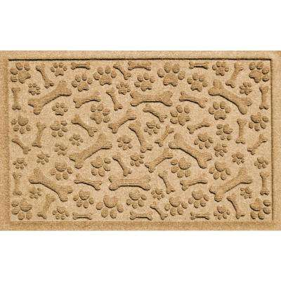 Gold 24 in. x 36 in. Paws and Bones Polypropylene Pet Mat