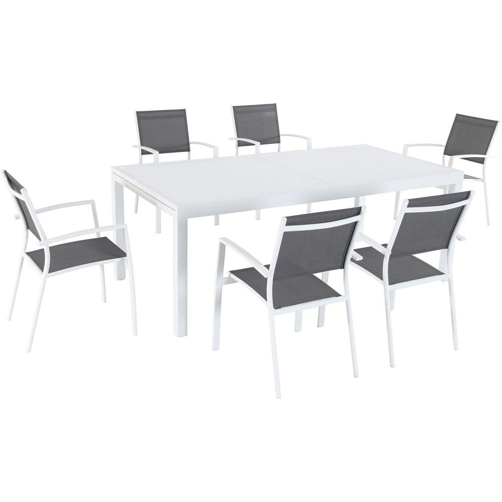 Hanover Del Mar 7 Piece Aluminum Outdoor Dining Set With 6 Sling Chairs And  Expandable