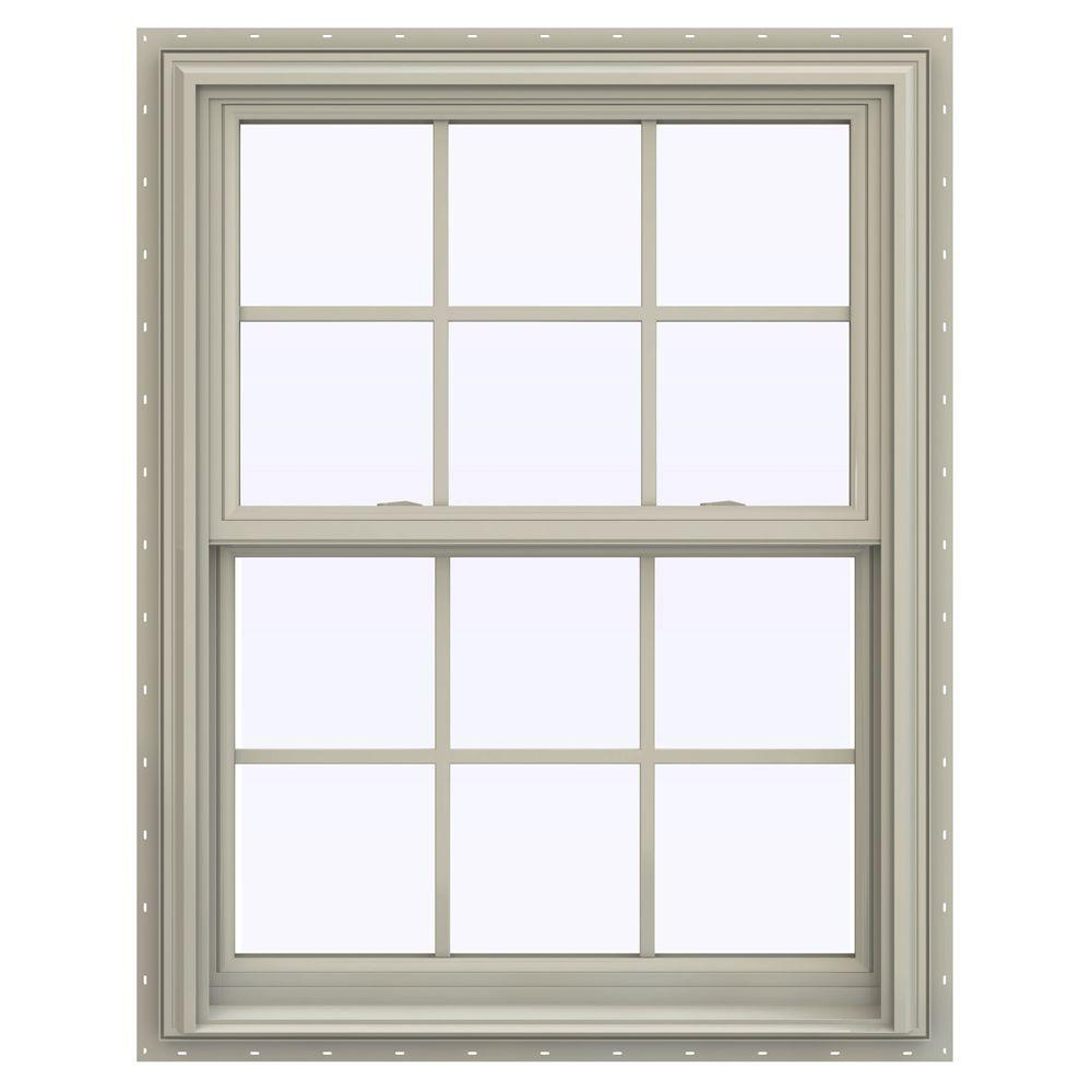 jeld wen 31 5 in x 40 5 in v 2500 series double hung vinyl window with grids tan. Black Bedroom Furniture Sets. Home Design Ideas