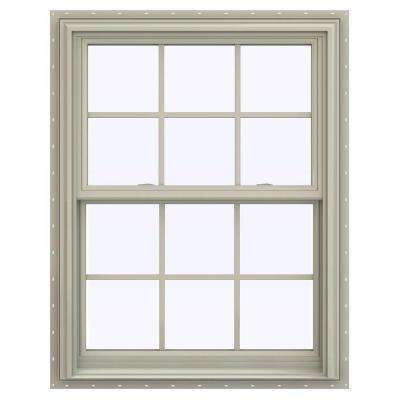 31.5 in. x 47.5 in. V-2500 Series Double Hung Vinyl Window with Grids - Tan