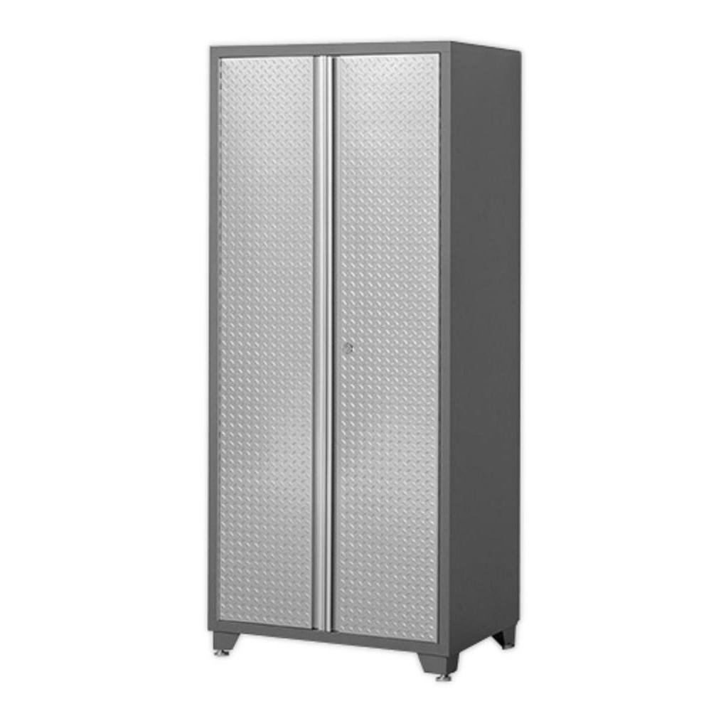 NewAge Products Pro Diamond Plate Series 36 in. W x 82.5 in. H x 24 in. D Locker Cabinet in Silver Finish/Gray Frame