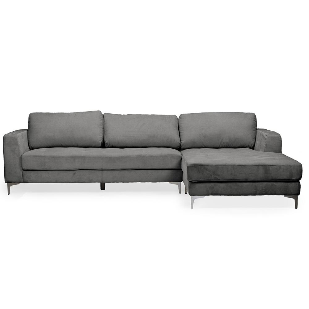 Agnew 2-Piece Mid-Century Gray Fabric Upholstered Right Facing Chase Sectional