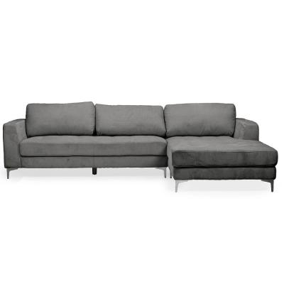 Agnew 2-Piece Gray Fabric 4-Seater L-Shaped Right-Facing Chaise Sectional Sofa with Chrome Legs