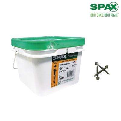 5/16 in. x 3-1/2 in. Powerlag Hex Drive Washer Head High Corrosion Resistant Coating Lag Screw (250 per Pail)