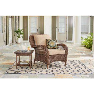Beacon Park Brown Wicker Outdoor Patio Stationary Lounge Chair with Standard Toffee Cushions