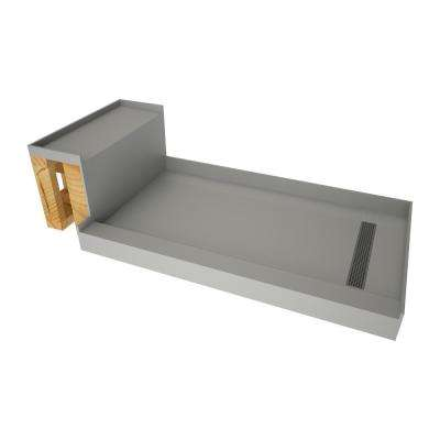 36 in. x 72 in. Single Threshold Shower Base in Gray and Bench Kit with Right Drain and Brushed Nickel Trench Grate