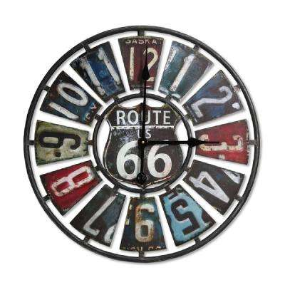 Multi-color Route 66 Weathered Metal License Plate Indoor and Outdoor Analog Clock