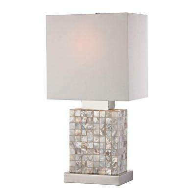 17 in. Chrome Mini Mother of Pearl Lamp