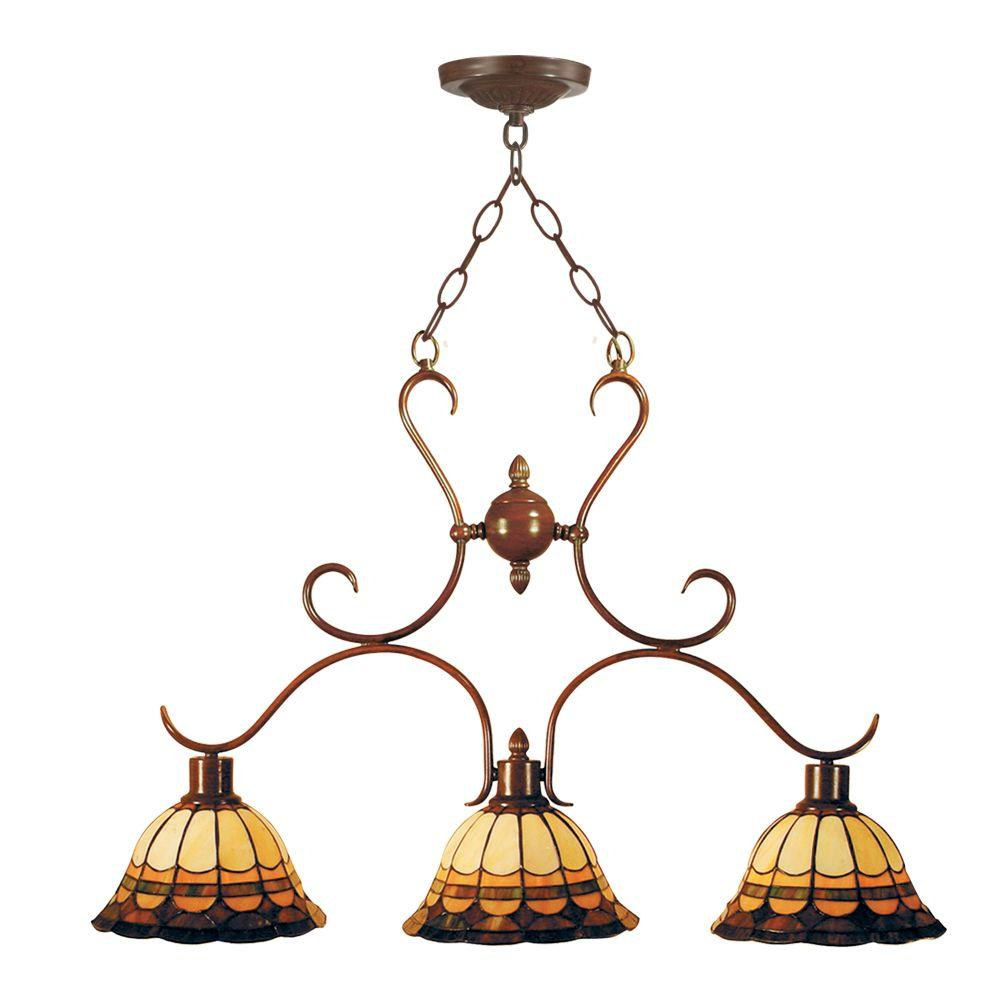 Dale Tiffany Tiffany Malcolm 3-Light Hanging Antique Bronze Chandelier-DISCONTINUED