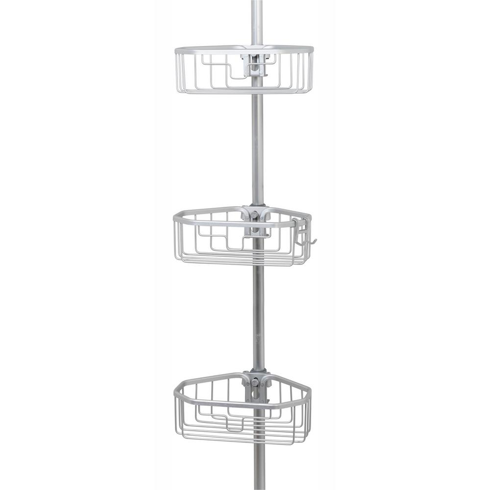 Glacier Bay Rustproof Tension Pole Shower Caddy in Satin Chrome
