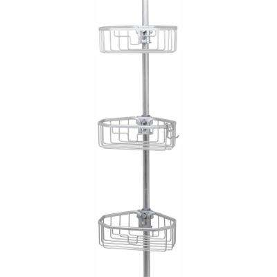 Rustproof Tension Pole Shower Caddy in Satin Chrome